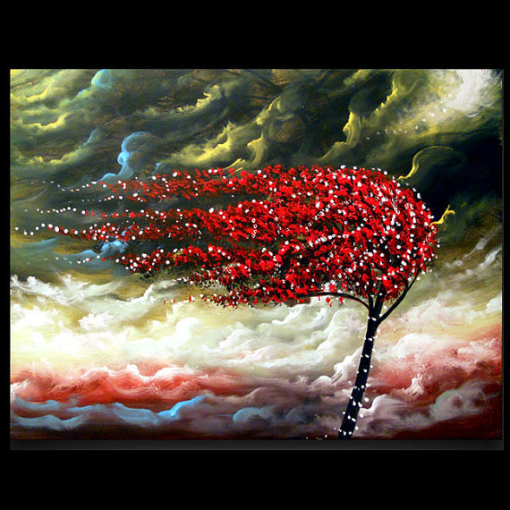 tree painting cloud blowing wind landscape large by mattsart