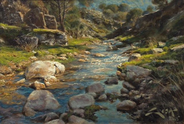 Sotillos River by Manuel Sosa (oil on canvas)