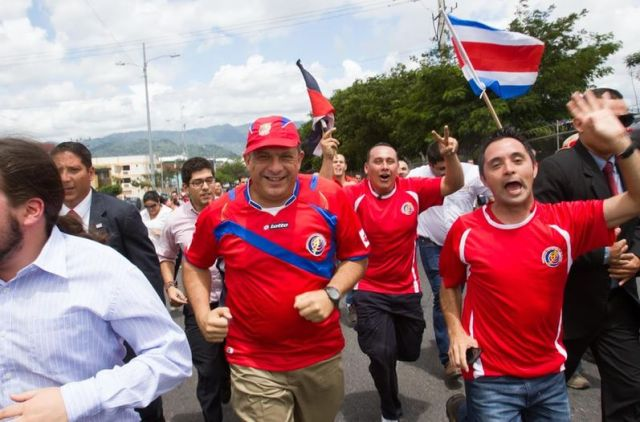 Our President Luis Guillermo Solis, celebrating in the streets with the rest of the country...