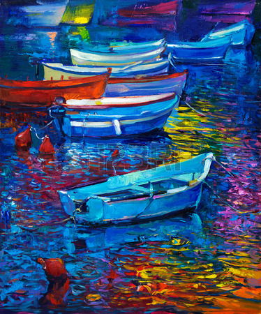 37926605-original-oil-painting-of-boats-and-sea-on-canvas-sunset-over-ocean-modern-impressionism
